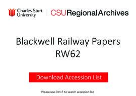 Blackwell Railway Papers