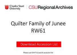 Quilter Family of 'Claris Park' and Yaralla', Junee