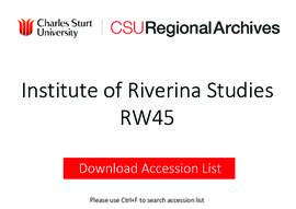 Institute of Riverina Studies
