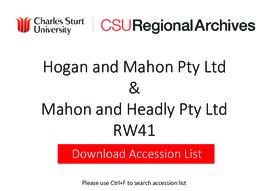 Hogan & Mahon Pty. Ltd. and Mahon & Headly Pty. Ltd.