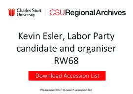 Kevin Esler, Australian Labor Party candidate and organiser