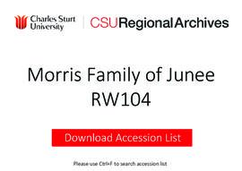 Morris Family of Junee