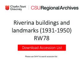 Photographs of Riverina buildings and landmarks