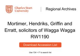 Mortimer, Hendriks, Griffin and Erratt, solicitors of Wagga Wagga