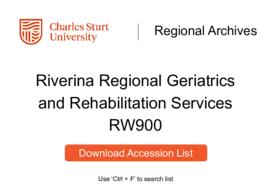 Riverina Regional Geriatrics and Rehabilitation Services