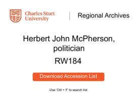 Herbert John McPherson, politician