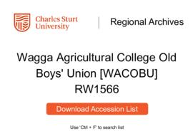 Wagga Agricultural College Old Boys' Union [WACOBU]