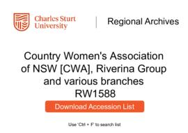 Country Women's Association of NSW [CWA], Riverina Group, Wantabadgery Branch, Coolamon Evening B...