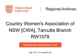 Country Women's Association of NSW [CWA], Tarcutta Branch