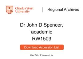 Dr John D Spencer, academic