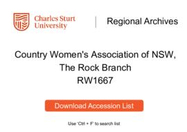 Country Women's Association of NSW [CWA], The Rock Branch