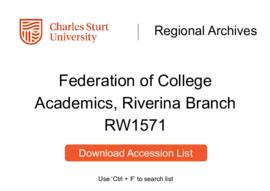 Federation of College Academics, Riverina Branch