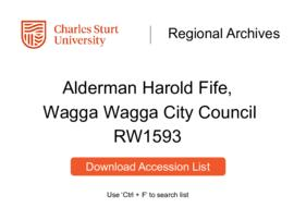 Alderman Harold Fife, Wagga Wagga City Council