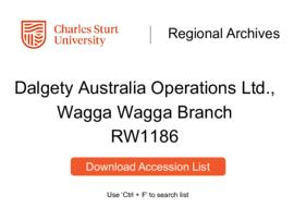 Dalgety Australia Operations Ltd., Wagga Wagga Branch