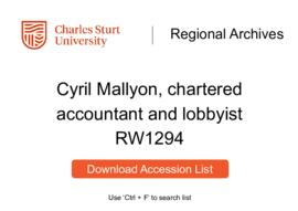Cyril Mallyon, chartered accountant and lobbyist