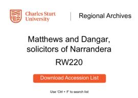 Matthews and Dangar, solicitors of Narrandera