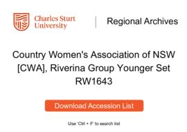 Country Women's Association of NSW [CWA], Riverina Group Younger Set