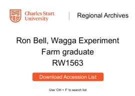 Ron Bell, graduate of the Wagga Experiment Farm