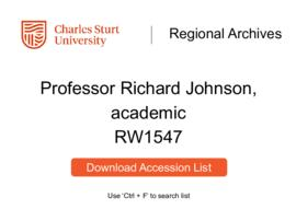 Professor Richard Johnson, academic